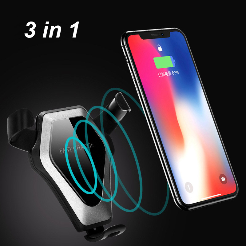 3in1 Wireless Car Charger for iphone X Fast Wireless Charging for Samsung Note 8 S9 Plus Dock charger for MIX 2S for Huawei P20