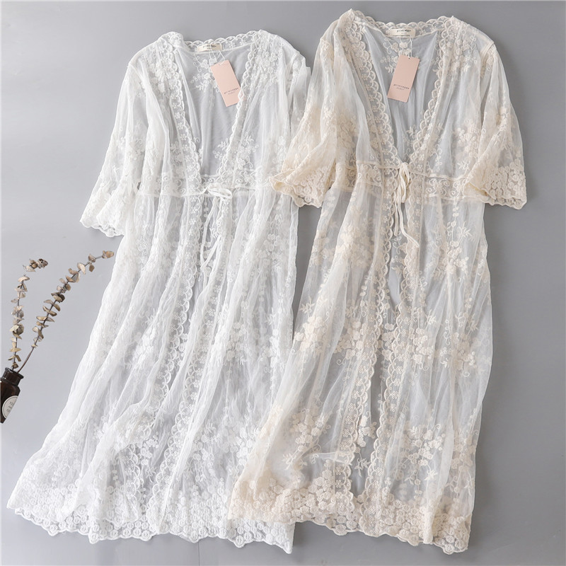 France romantic style     embroidery lace sun protection shirt  long travelling  lace cardigan-in Blouses & Shirts from Women's Clothing on AliExpress - 11.11_Double 11_Singles' Day 1