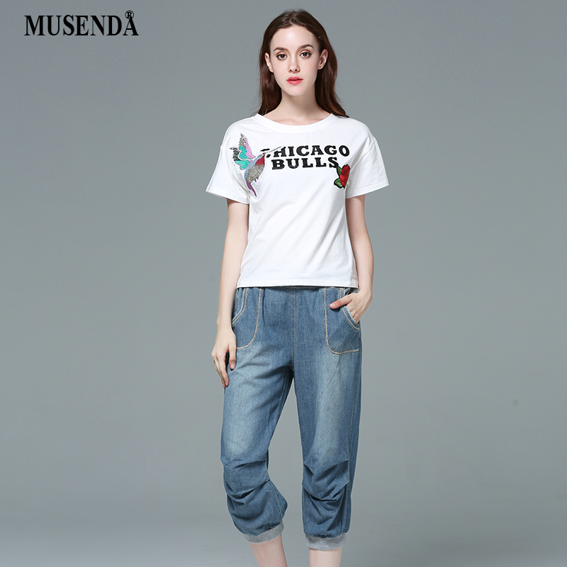 MUSENDA Women Loose Elastic Waist Lace Up Bloomers Jeans Mid Waist Calf Length Denim Pants 2017 Summer Lady Casual Fashion Jeans loose lace up casual mens pencil pants