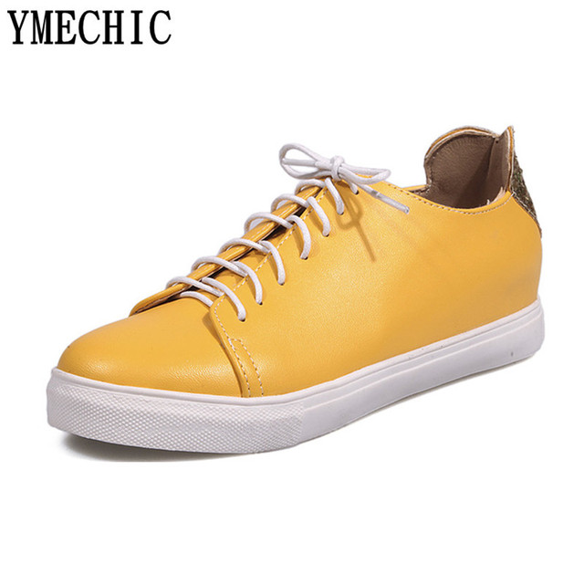 YMECHIC 2018 Glitter Bling Heart-shaped Flat Shoes Women School Lace Up  Young Ladies Flats Casual Sneakers Pink Yellow Plus Size 68b687feb6