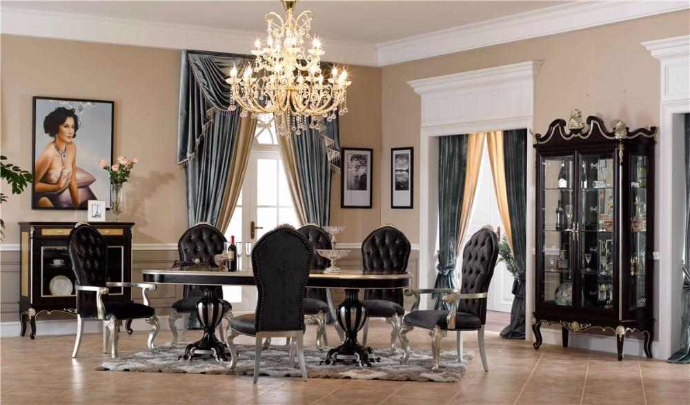 0402 Black Italian Design Antique Dining Table