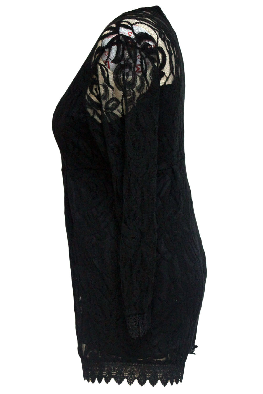 Black-Plus-Size-Long-Sleeve-Lace-Romper-LC60599-2-4