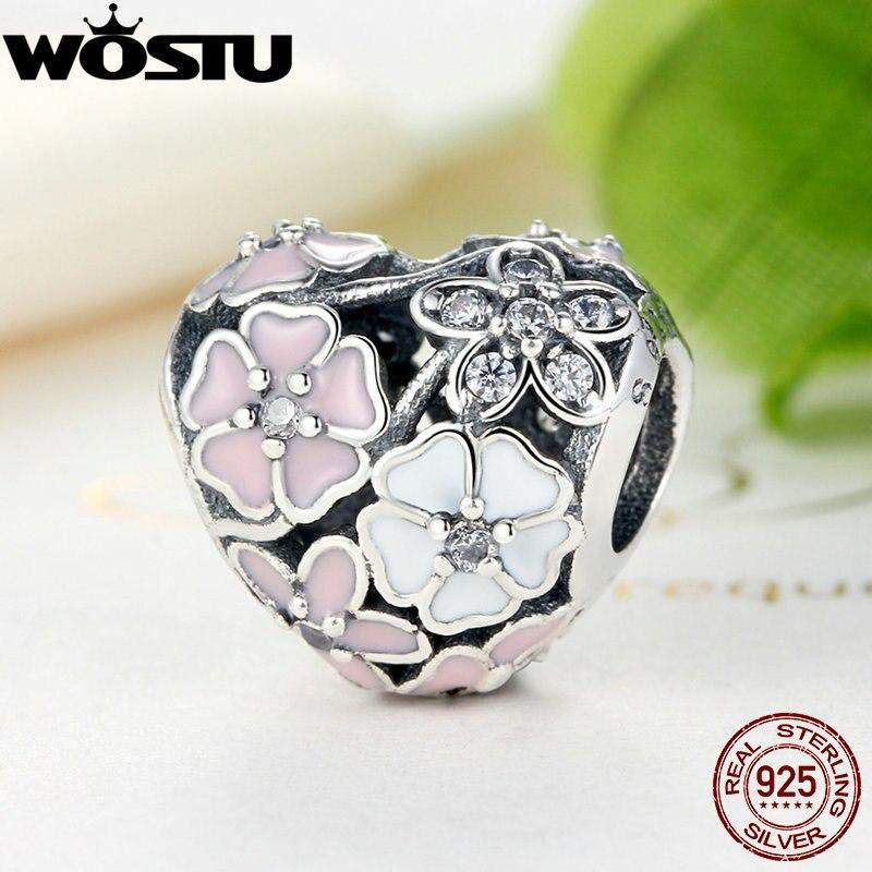 WOSTU Aliexpress 100% 925 Sterling Argent Poétique Fleurs Charme Perles Fit Original Bracelet De Luxe BRICOLAGE Fabrication de Bijoux SDPS283