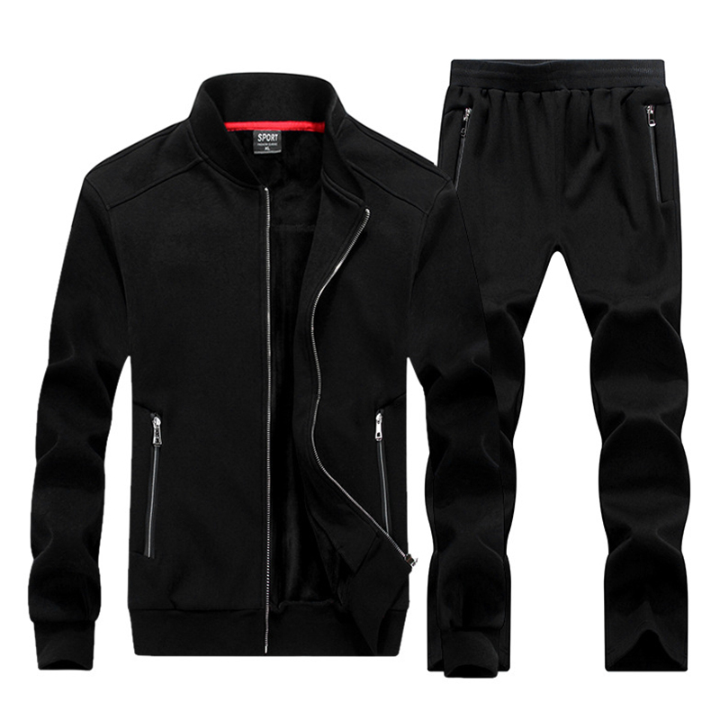 Large Size 8XL Winter Men Sporting Suit Hoodies Jacket+Pant Sweatsuit Two Piece Set Tracksuit Sportswear Thick For Men Clothing