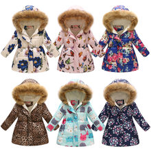 Children Coat Winter Girls Print Coats Warm Coat Boy Winter Outerwear Fleece Cotton Jacket Kids Thickened Real Fur Collar Coat(China)