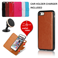 Flip Leather Case For iPhone 6 6s 7 Plus Wallet Bags + Back Case With Magnet 2 in 1 Cover Full Protect Bag For Samsung S5 S6 S7
