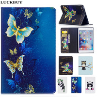 LUCKBUY Cute Butterfly Owl Giraffe Panda Pattern Fashion PU Leather Tablet Cover Case For IPad Air