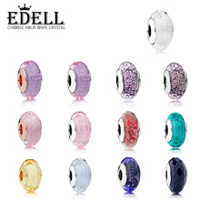 EDELL Romantic 925 Sterling Silver Star Murano Starry Sky Series Glass Beads Fit Original Bracelet Charms For Jewelry Making Diy
