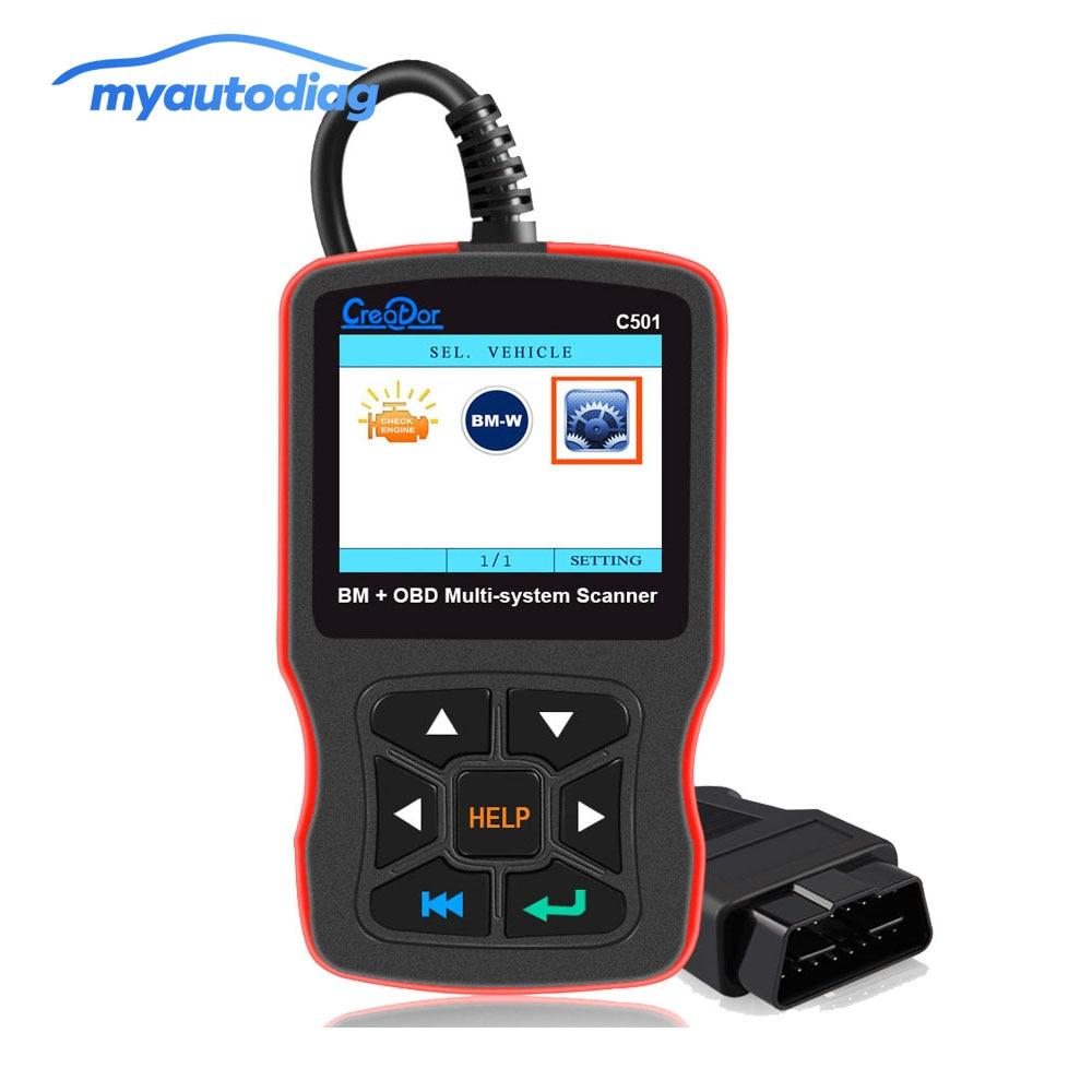 Creator C501 для BMW OBD2 Диагностический автоматический сканер полная система сканер OBD II EOBD Функции диагностический инструмент для BMW E46 E39 E90