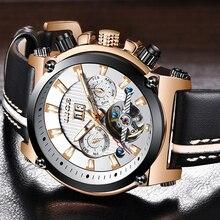 купить LIGE Fashion Men Watches Top Brand Luxury Business Waterproof Mechanical Watch Men Leather Automatic Watch Relogio Masculino+Box дешево