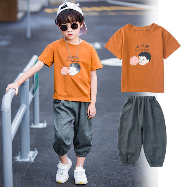d3afb672fac Children Boys Summer Clothing Set Fashion Casual Clothes Sets Short Sleeve T -Shirt + Pants For Color Caramel   Orange   Green