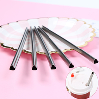 100pcs/lot Stainless Steel Metal Drinking Straws HEART Shaped Reusable Portable E co Friendly Tubes 215mm*8mm For 20/30 oz Mug