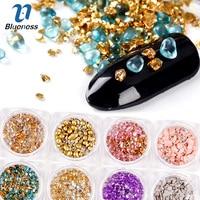 Blueness 12Boxs Set 3D Charms 12Colors Mix Natural Stones Design Nail Art Decorations Nail UV Gel