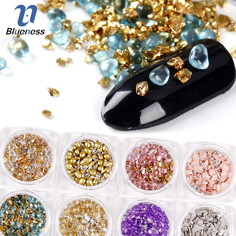 Blueness 12Boxs/Set 3D Charms 12Colors Mix Natural Stones Design Nail Art Decorations Nail UV Gel Supplies Studs ZP334@#05 blueness 10pcs lot red cherry 3d nail art charm decorations alloy glitter jewelry rhinestones for nail studs tools diy gem tn061