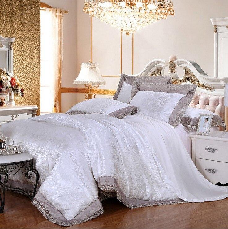 Lace Jacquard Luxury White Palace Modal Tencel Wedding Princess Bedlinen 4pcs Comforter/duvet Cover Bedding Set Bed Sheet Good Heat Preservation Rock & Pop
