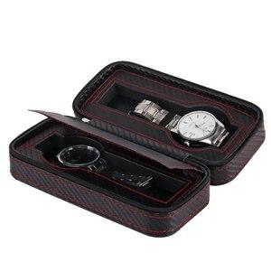 Image 3 - נייד תיבת שעון סיב עור מפוצל נסיעות מקרה שעון תיבת אחסון ארגונית פחמן שעון מקרה 2/4/8 חריץ מעולה עמיד d20