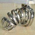 Longitud 55mm de acero inoxidable y la castidad jaula con Anti-off cock jaula anillo de arco anillo de cerradura del pene masculino productos del sexo servidumbre