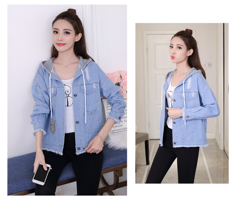 woman jacket spring 2019 New cowboy coat fashion Hooded Tops thin popular women's denim jackets Youth clothing for women 1240 45