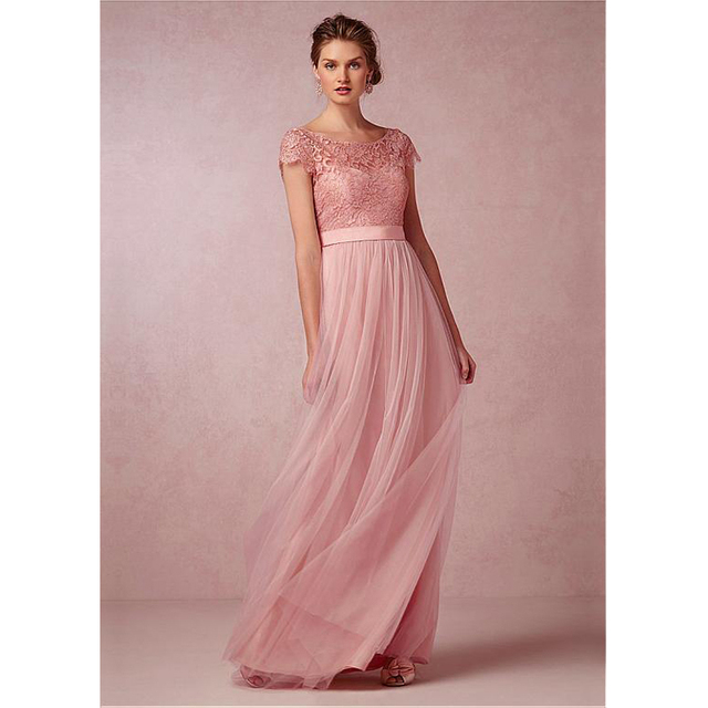 429baa6685cfb Pearl pink Bridesmaid Dresses Soft Tulle with Floral Lace Top Short Sleeve  pleats Tulle Fancy Long Wedding Party Dresses Cheap