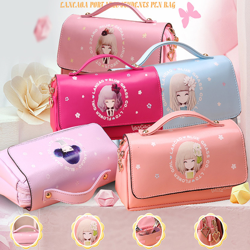 Large Capacity Kawaii Cute School Pencil Case PU Leather Portable Pencil Bag Girl Pen Bag For Girls Gift Stationery Supplies cute kawaii pencil case school pencil bag korean stationery pu leather pen bags box for boys girls