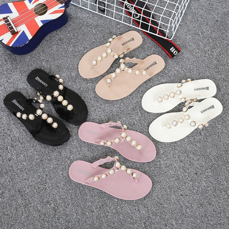 Women Shoes Flip Flops Faux Pearl Glitter Summer Bohemian Style Beach Sandals