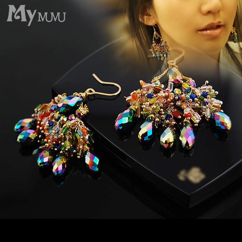 Mymmu Fashion Colorful Beads Multilayer Drop Earrings Long Pendant Water Drop Crystal Earrings Women Bohemian Style Jewelry