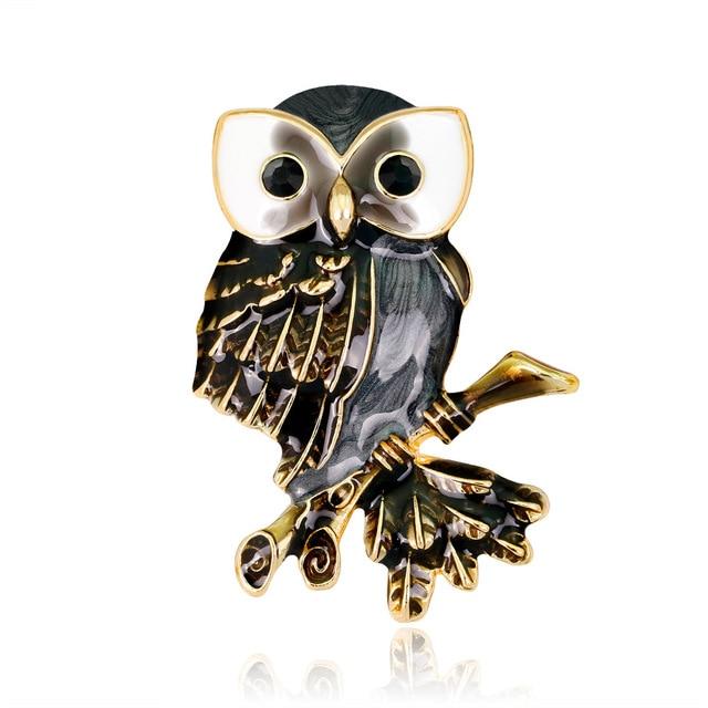 Richight-AL240 Fashion Vintage Metal Enamel Pins Brooches for Women Black Cartoon Owl Lapel Pin Retro Women Accessories