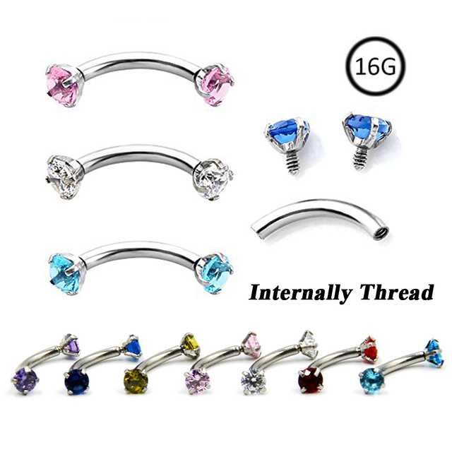 Colorful Crystal Internally Thread Prong Set Double Gem Eyebrow Ring Curved Barbell Piercing Body Jewelry 16g