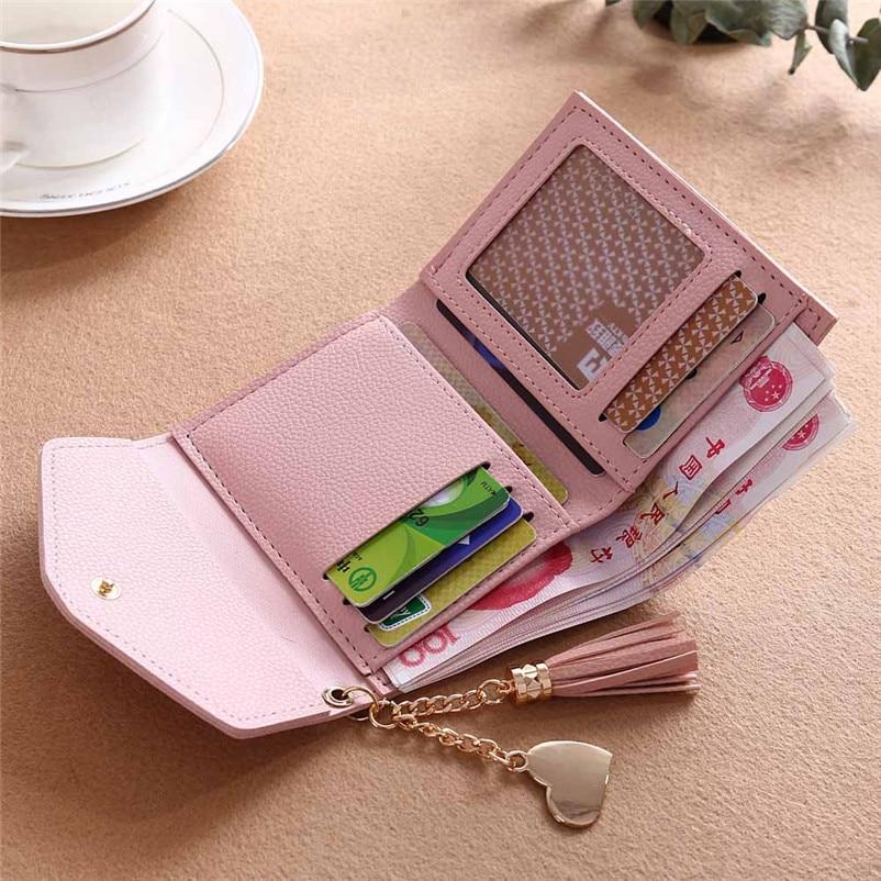 3988db2b4 1 Cartera corta Simple para mujer, cartera con borla, monedero, tarjetero,  bolso (Sin paquete al por menor)