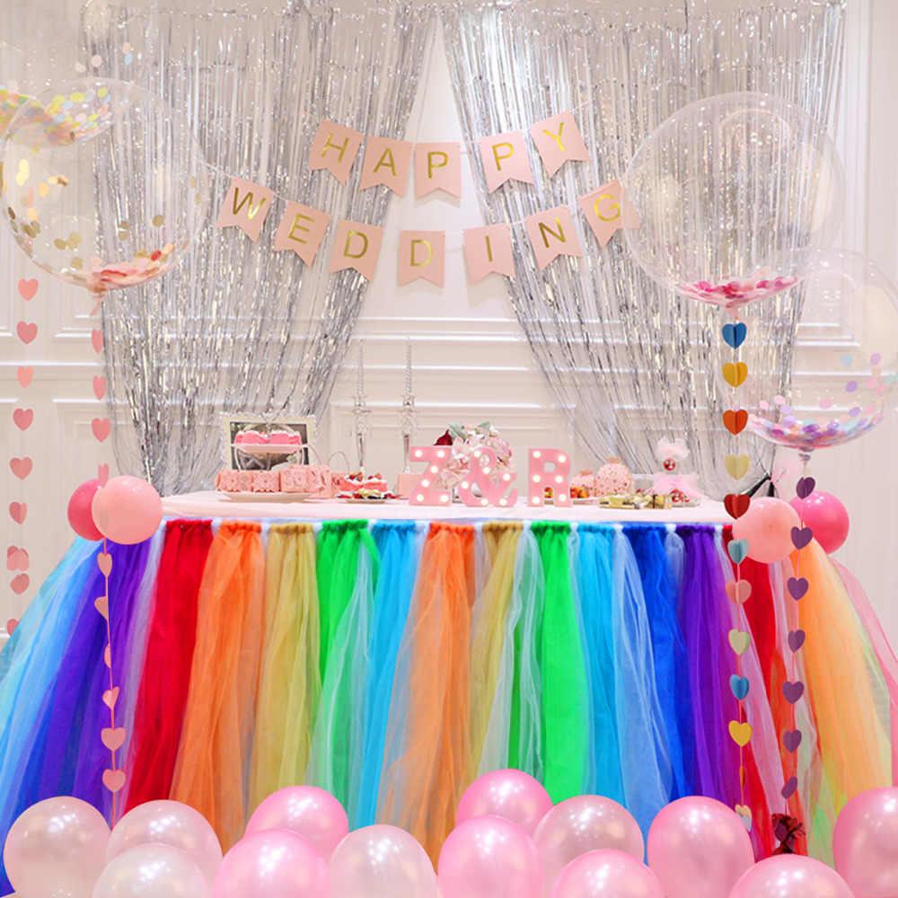 Rainbow Tulle Table Skirt Rainbow Party Tutu Table Skirt Tulle Table Tutu Desert Shower ANY COLORS Tulle Tutu Table Skirt Birthday