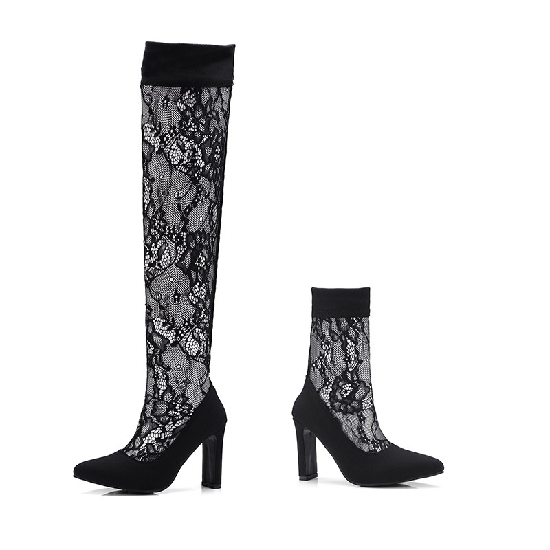 Minute Hand 2018 New Fashion Sexy Lace Summer Boots Thick High Heels Pointed Toe Women Slip On Ankle Or Knee High Boots Shoes