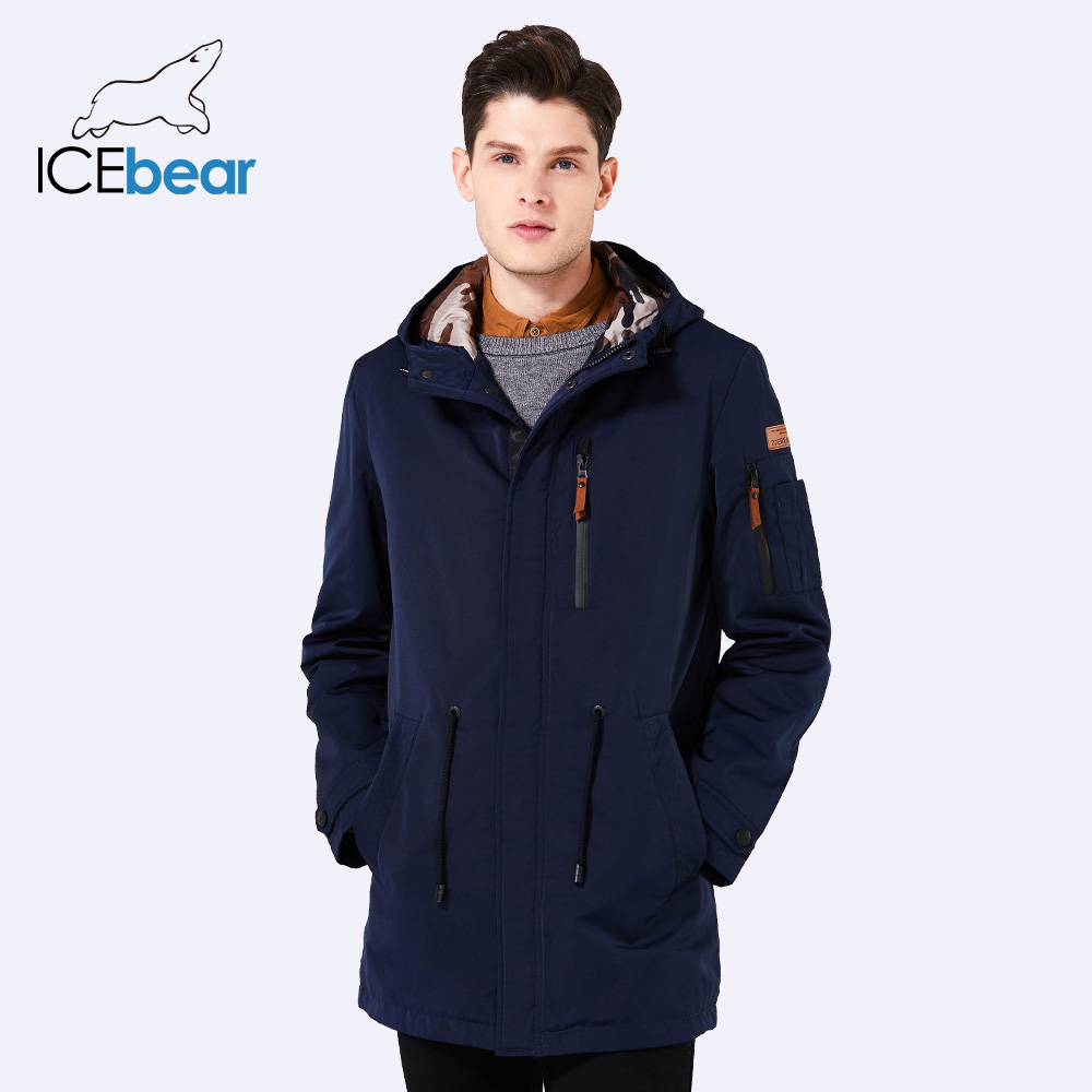 ICEbear 2018 Trench Coat For Men Adjustable Waist Hat Detachable Spring Autumn Men New Casual Medium Long Brand Coats 17MC017D