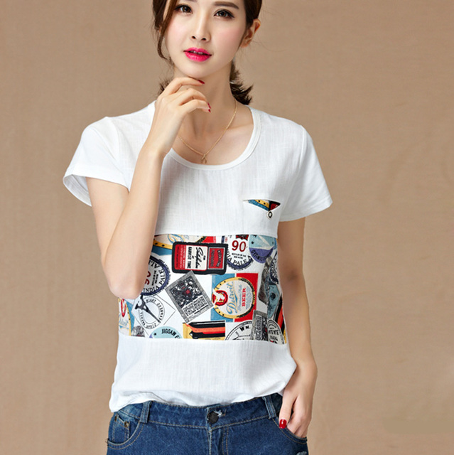 8867fdd3ace 2016 Summer Fashion Women Girl College Linen Blend Casual Plus Size Short  Sleeve Floral Color block Tops Tees TS Shirts