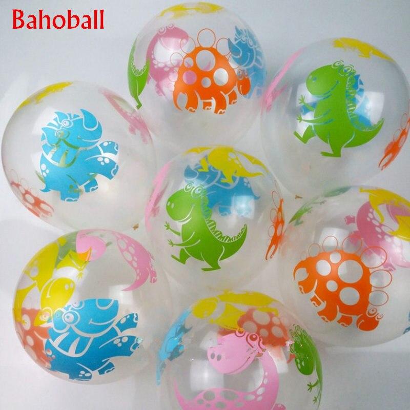 10pcs//set 12inch Thicken Mixed Color Printing Transparent Dinosaur Latex Ballon