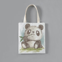 Customized Solid Corduroy Shoulder Bags animals- panda printing Tote Package Purses Casual Handbag shopping bag For young girl(China)