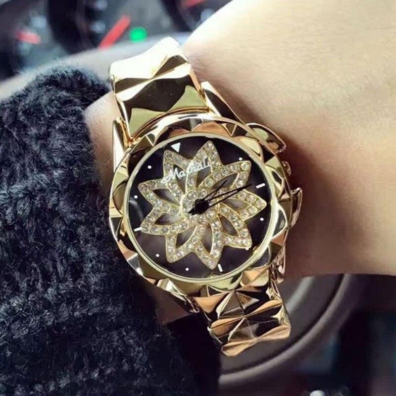 3d9fc70548f5 Nuevas mujeres de acero inoxidable reloj de señora brillante rotación reloj  grande de la Piedra del diamante señora plata Rosa reloj de oro