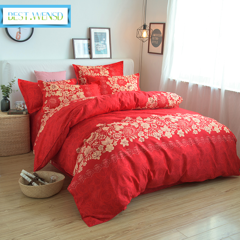 BEST.WENSD Super Soft No Fade Wedding Four-piece Kit Bedding Chinese Style Big Red Flower Duvet Cover Set Bedspread Double King