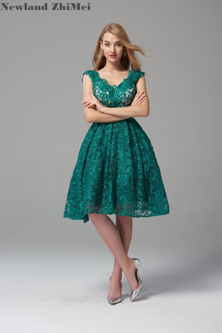 Elegant   Cocktail     Dress   2019 Sexy V Neck Zipper Back Green Lace Knee Length Evening Party Custom Made vestido coctel
