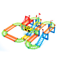 74PCS 3D Two Layer Spiral Track Colorful Educational Roller Coaster Toy Electric Rail Car For Child