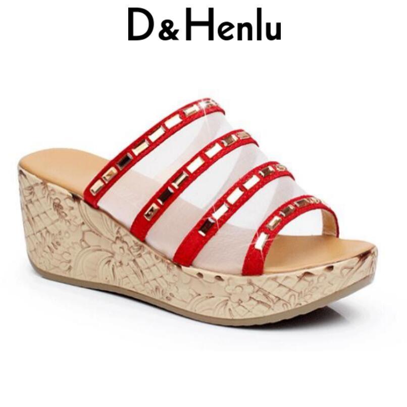 b6ac8967e1 D   Henlu Desliza Sapatos de Cristal Das Mulheres Sandálias Plataforma  Saltos de Cunha Sandálias de