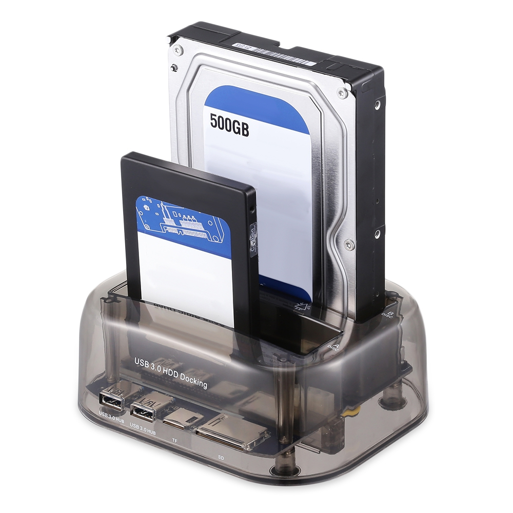 Transparent USB 3 0 to SATA IDE Dual Bay 2 5 3 5 Hard Drive Docking