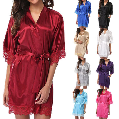 New Womens Satin Silk Sleepwear Nightdress Lingerie Night Wear Ladies Solid Lace Patchwo ...