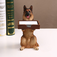 handmade creative office supplies resin dog name card holder credit card holder stationery storage box on office desk ornaments