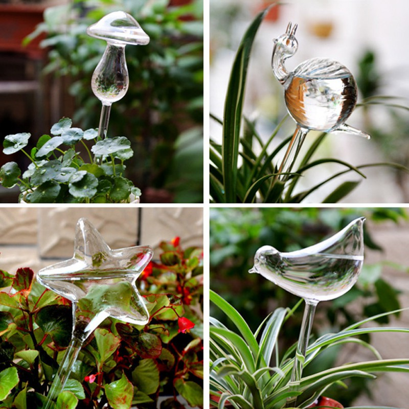 Houseplant Automatic Self Watering Glass Bird Watering Cans Flowers Plant Decorative Clear Glass Watering Device 12 Shapes image