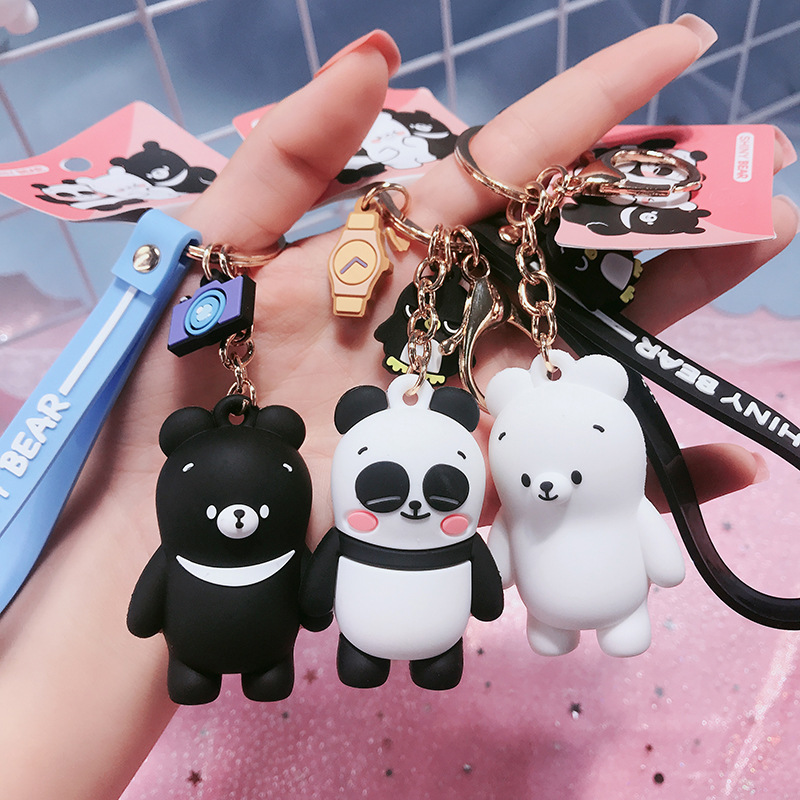 2019 New Cartoon Creative Cute Epoxy Think You Bear Keychain Female Creative Cute Panda Car Key Chain Bag Pendant