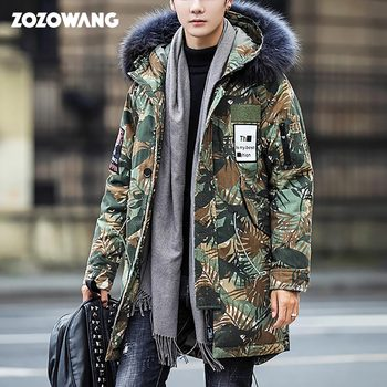 2020 Casual Winter down Jacket Men High Quality Fur Collar Thick Warm white duck down Parka Men Long Coat Camouflage Windproof