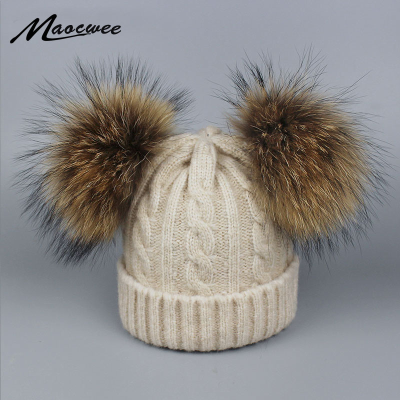 ccce91e9fa5 Children Real Fur Raccoon Pompom Hat Skullies Baby Boys Girls Winter Beanie  Hats Wool Knitted Caps