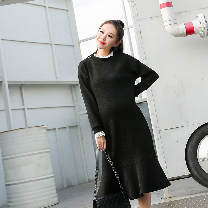 Ruffle Elegant Fashion Lace Sweater Dress for Pregnant Women Ladies Lace Solid Knitted Fishtail Maternity Dress Plus Size
