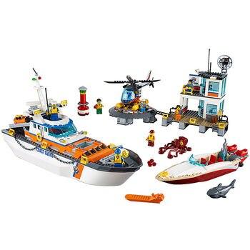 Coast Guard Head Quarters Compatible Legoe City Coast Guard 60167 Building Blocks toys for Childrens Bricks Model