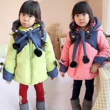 Детские зимние девушки хлопок конфеты цвет пальто Корейской небольшой Ведьма детей с бархатной хлопка утолщенной детей